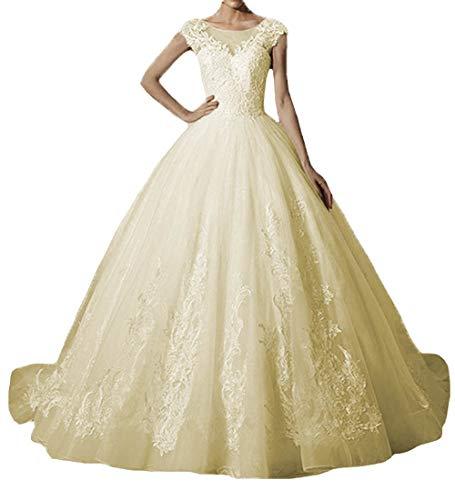 O.D.W Damen Spitze Lange Vintage Party Brautkleider Mehrfarbig Gothic Hochzeitskleider
