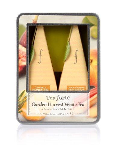Tea forté Harvest Garden - Small Tin Geschenkdose mit 2 Tee-Pyramiden Weißer Bio-Tee 5 g, 3er Pack (3 x 5 g)