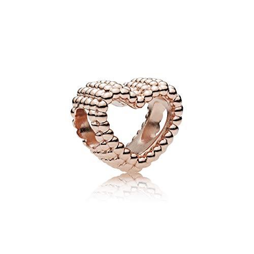 Pandora Damen Rose Offenes Metallperlen Herz Charm 14 Karat rosévergoldete Metalllegierung 787516