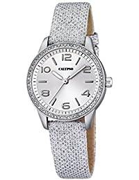 Calypso–Reloj de cuarzo para mujer con correa de piel plata esfera analógica pantalla y plateado K5652/1