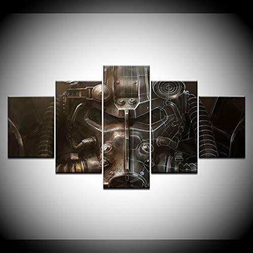 MIYCOLOR 5 Panel Fallout Power rüstung Helm Poster Holz Galerie wrap Kunstdruck Wohnzimmer Home wanddekor Modulares Bild Kunstwerk, 40x60 40x80 40x100