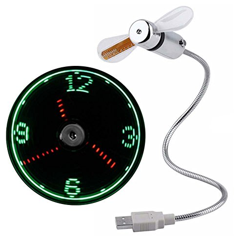 Demarkt LED USB Fan Uhr Mini Flexible Time Display Schwanenhals USB Ventilator USB Uhr mit LED Licht Cool Gadget für PC Notebook Laptop