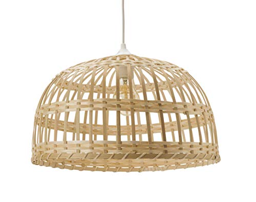 Lussiol 250496 - Lámpara de techo (bambú, 60 W, 40 x 22 cm), color natural