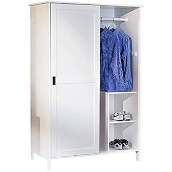 Schrank weiß schiebetüren  Schrank Kleiderschrank in Weiß, Massivholz/Metall, 2 Schiebetüren ...