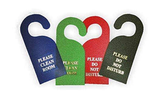 Confezione da 10 Non disturbare / Si prega di pulire la porta della camera segni hanger - verde con il testo d'argento