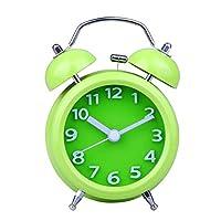 Uniquebella Réveil matin, Lumineux et Silencieux, Rond Diamètre 8.2cm à Double cloches- Vert