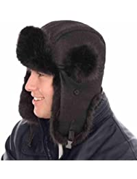 New Mens Womens Unisex Fur PU Leather Trapper Warm Winter Thermal Hat AW111