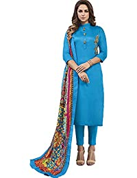 Vasu Saree Blue Heavy Jam Cotton With Designer Hand Work Long Stitched Suit