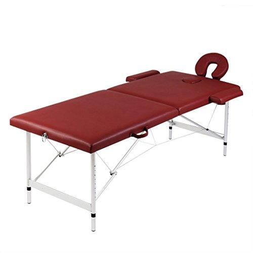 Festnight - lettino pieghevole da massaggio/trattamento rosso 2 zone con telaio alluminio