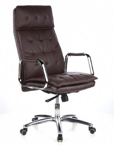 hjh OFFICE 600924 chaise de bureau, fauteuil de bureau VILLA 20 marron en cuir, siège avec accoudoirs haut de gamme, rembourrage épais au motif piqué, dossier haut inclinable, pied en alu, garantie 4 ans