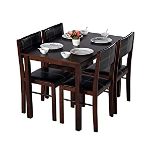 DeckUp Ceylon Rubberwood 4 Seater Dining Table Set (Wenge)