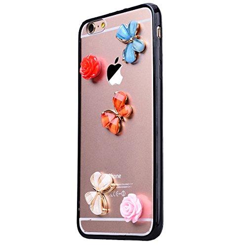 HB-Int Hülle für iPhone 6 Plus / 6S Plus Durchsichtig Weiche TPU Rahmen mit Hartem PC Rückdeckel Lieblich 3D Zubehör Schutzhülle Bumper Transparent Case Handytasche Schmetterling Blumen Flexible Case  Schmetterling Blumen