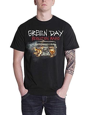 Green Day T Shirt Revolution Radio Album Cover band logo officiel Homme Noir