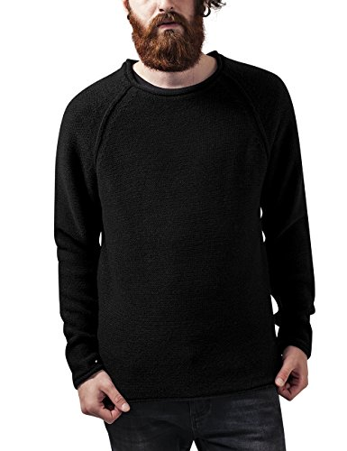 Urban Classics TB1425 Herren Sweatshirt Raglan Wideneck Sweater Schwarz (Black 7), Medium (Fleece-raglan-kapuzen-pullover)