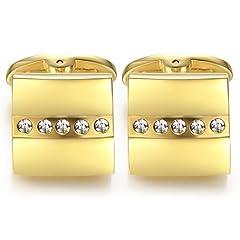 Idea Regalo - Honey Bear gemelli camicia uomo oro,acciaio con il cristallo per regalo di nozze d'affari