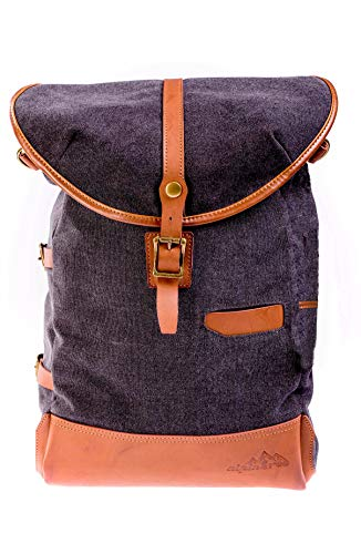 alpintree Rucksack naturdays Daypack Laptoptasche Canvas Picknick Rucksack Alkantara Leder (Anthrazit)