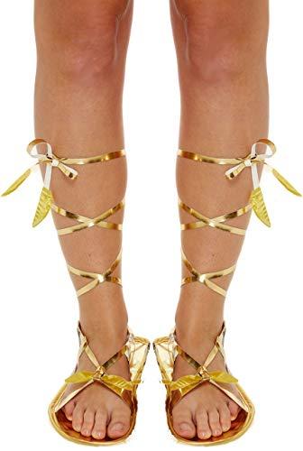 (Damen Gold Römisch Griechisch Gladiator Krawatte Kostüm Kleid Outfit Flache Sandale Zubehör - Gold, Eine Größe für Alle)