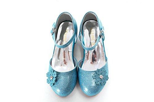 ELSA & ANNA® Mädchen Gute Qualität Schuhe Prinzessin Schnee Königin Gelee Partei Schuhe Sandalen BLU11-SH (Euro 27 - Innenlänge: 18.0cm, BLU11-SH)