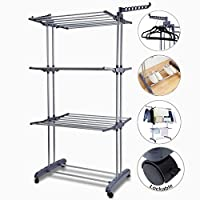 Voilamart Clothes Airer 3 Tier Foldable Laundry Drying Clothes Rack Outdoor Indoor Heavy Duty Clothing Horse Garment Dryer Stand on Wheel