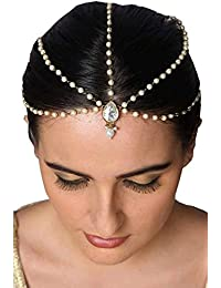 Meenaz Hair Jewellery Traditional Wedding Gold Pearl Chain Mathapatti Necklace Maang Tikka Jewellery Set For Women...