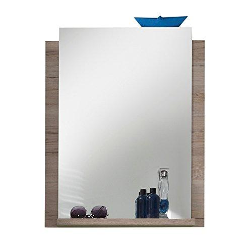 trendteam 1316-401-90 Badezimmer Wandspiegel Campus, eiche San Remo Nachbildung, 60 x 75 x 15 cm, weiß