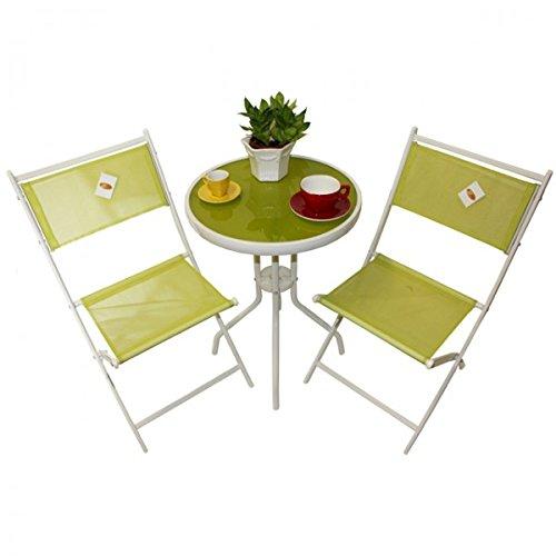 Unbekannt 3tlg. Balkonset Lara Sitzgruppe Weiß grün Garnitur Gartenmöbel Balkonmöbel Glas