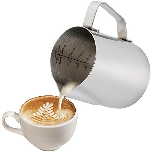 Anpro Milchkännchen, Milk Pitcher 350ml / 12 fl.oz. Milchkanne aus Edelstahl, Milch Aufschäumen für Cappuccino und Latté, Silber