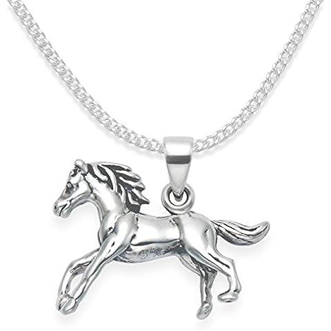 Plata de Ley caballo colgante collar cadena de 45cm–premium calidad–Cartucho sólido doble cara–TAMAÑO: 20mm x 15mm 8127. Caja de