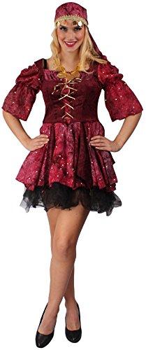 Zigeunerin Kostüm rot-schwarz für Damen | Größe 42 | 2-teiliges Wahrsagerin Kostüm für Karneval | Tänzerin Faschingskostüm für Frauen