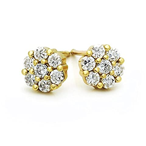 Little Treasures 14 ct Yellow Gold Plated Small Cluster CZ Stud Screw Back Earrings For Children & Women