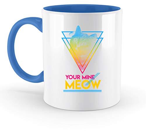 SPIRITSHIRTSHOP Your Mine Meow - Sphärische Bunte Katze - Zweifarbige Tasse -330ml-Blau -