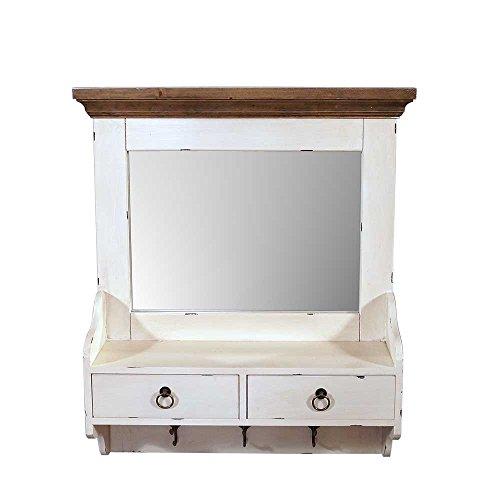 Landhausmöbel - Wandgarderobe Provence - Landhaus Wandregal mit Spiegel Holz 2 Schubladen Vintage Look creme weiß