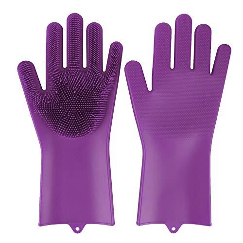BEAUTLOHAS. Silikon Handschuhe mit wash Scrubber BPA-Frei umweltfreundlich Waschhandschuh Hitzebeständige Spülhandschuhe Reinigungsbürste für Küche, Bad, Tierpflege, Autowäsche, Haushalt(lila)