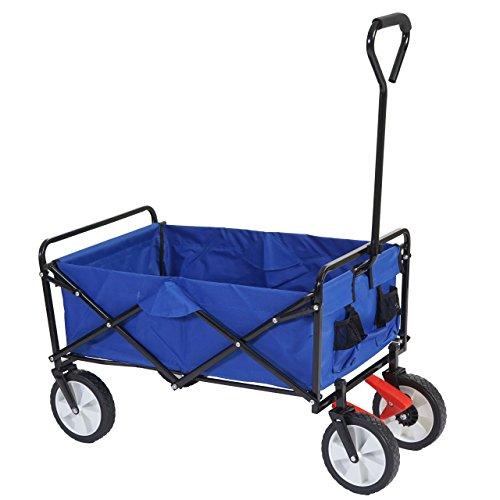 Faltbarer Bollerwagen Morley, Handwagen Transportwagen Flaschenhalter ~ blau, mit Bremse