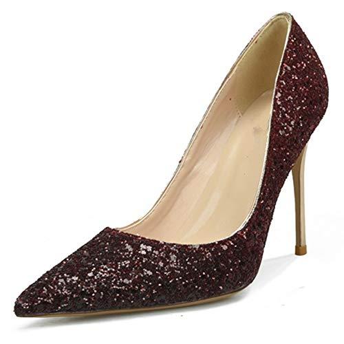 Fenghz-Shoes Schuhe Mode Dorsay Pumps für Frauen 6 cm Hohe Stiletto Heels Slip On Nachtclub Schuhe für Damen Glitter Kunstleder (Color : Weinrot, Size : 42 EU) Glitter Stiletto