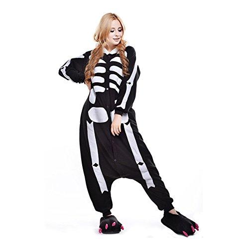 Free Fisher Damen/ Herren Schlafanzug Pyjama, Tier Kostüm, Skelett, Gr. XL (Körpergröße 178-188 (Skelett Kostüm Für Herren)