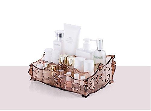 étui cosmétique Kit de maquillage pour table créative Boîte de rangement cosmétique Transparent Style européen 25.5*17*10cm ( Couleur : Marron )