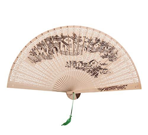 Seide Alter Stil Damen Handfächer Chinesischer Blumen Stoff Fächer Ideal als Hochzeit Geschenk Party Kostüm, Chinesisches traditionelles hohles Fan-hölzernes vorzügliches faltendes Hochzeitsgeschenk