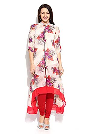 Soch Off White and Red Printed High-Low Georgette Kurti - MD KTS 1127