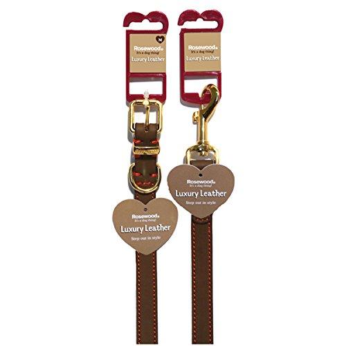 Rosewood 04017 Leder-Hundehalsband für Halsumfang von 35.6-45.7cm, braun - 3