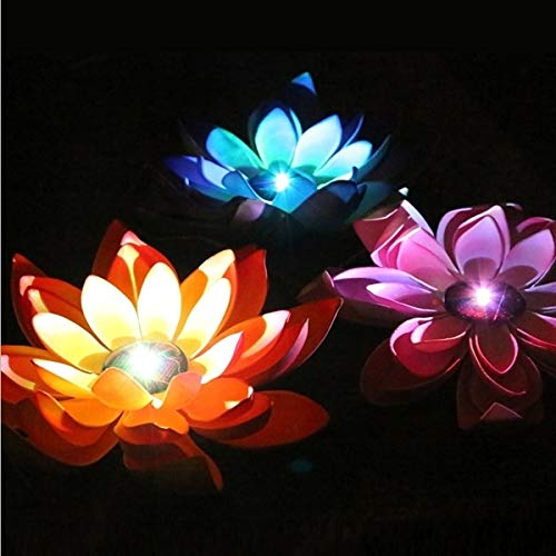 Jasmin FS Nachtlicht Solar Power Floating LED Wasserdichte Lotus Flower Lampe Licht mit...