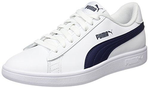 PUMA Smash v2 L, Zapatillas Unisex Adulto, White-Peacoat, 40 EU