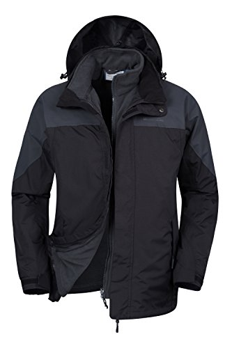 Mountain Warehouse Storm Wasserfeste 3 in 1 Herren Winterjacke, Warmer Fleecejacke, Regenjacke, Herrenjacke, Funktionsjacke, Allwetterjacke, Doppeljacke, Übergangsjacke, Frühling Grau Medium