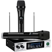 ELEGIANT Wireless Mikrofon, Professional UHF Bluetooth Funkmikrofon Set tragbares Mikrofon Kabellos Karaoke Anlage Handheld Dynamische Mikrofon mit Verstärker Dual Channel LCD Display schwarz