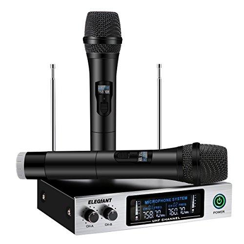 ELEGIANT Wireless Mikrofon, Professional UHF Funkmikrofon Set tragbares Mikrofon Kabellos Karaoke Anlage Handheld Dynamische Mikrofon mit Verstärker Dual Channel LCD Display schwarz