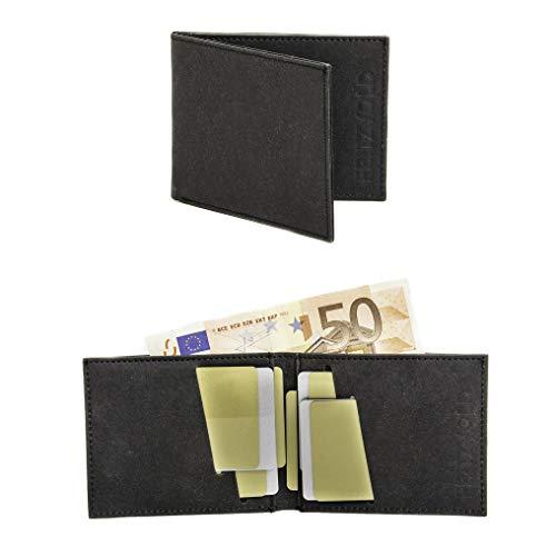 FRITZVOLD MINIMAL Wallet mit RFID-Schutz, kleines, dünnes Portemonnaie für Damen & Herren, extrem Flacher Geldbeutel, Slim Portmonee, Geldbörse aus waschbarem Papier-Kunstleder, schwarz