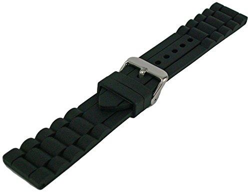 Silikon Armband Schwarz 18mm-26mm Uhrenarmband Glieder Muster Uhrband 24mm - 23mm Uhrenarmband Silikon