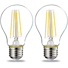 AmazonBasics LED E27 Edison Screw Bulb, 7W (equivalent to 60W), Clear Filament - Pack of 2