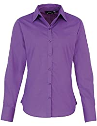 Premier Womens/Ladies Poplin Polycotton Long Sleeve Corporate Blouse