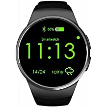 Max Explorer KW18 Smart Watch with Heart Rate Monitor the Mobile Watch Phone KW18 with SIM Card and TF Card and the Fitness Tracker KW18 Smart Bracelet with Multi-Functions for Various Common Smart Phones (Black)